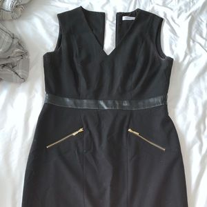 Calvin Klein Black Fitted Work Dress